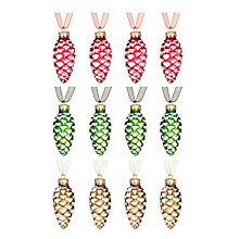 Buy John Lewis Flittered Vintage Glass Pine Cones, Set of 12, Multi Online at johnlewis.com