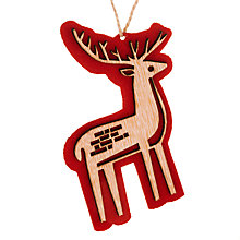 Buy John Lewis Wood Laser Cut Reindeer Decoration, Red/Natural Online at johnlewis.com