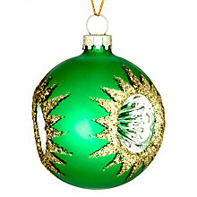 Buy John Lewis Reflector Bauble, Mini, Green Online at johnlewis.com