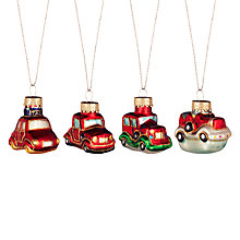 Buy John Lewis Mini Glass Car Decorations, Set of 4, Multi Online at johnlewis.com