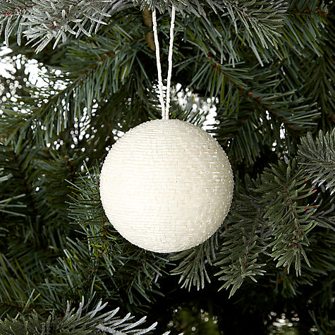 Buy John Lewis Croft Collection Beaded Bauble, White Online at johnlewis.com