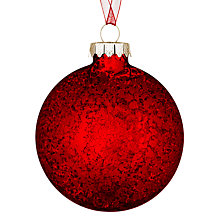 Buy John Lewis Mercurised Glass Flat Bauble, Red Online at johnlewis.com