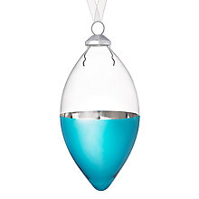 Buy House by John Lewis Glass Drop Bauble, Clear/Turquoise Online at johnlewis.com