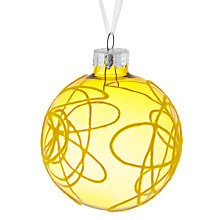 Buy House by John Lewis Flocked Scribble Bauble, Yellow Online at johnlewis.com