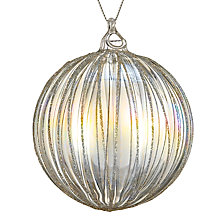 Buy John Lewis Croft Collection Iridescent Bauble with Stripe, Clear/Gold Online at johnlewis.com