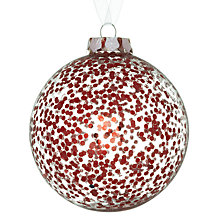 Buy John Lewis Sequin Glass Bauble, Clear/Red Online at johnlewis.com