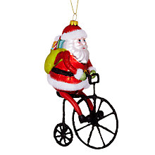 Buy John Lewis Father Christmas on a Bike Decoration, Multi Online at johnlewis.com