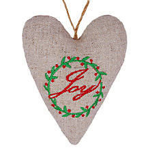 Buy John Lewis Padded Hessian Heart Decoration, Multi Online at johnlewis.com