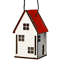 Buy John Lewis Wooden House Decoration, Red/White Online at johnlewis.com