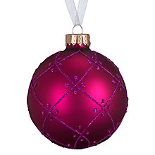 Buy John Lewis Bauble with Glitter Diamond, Pink Online at johnlewis.com
