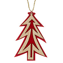 Buy John Lewis Wooden Laser Cut Tree Decoration, Natural/Red Online at johnlewis.com