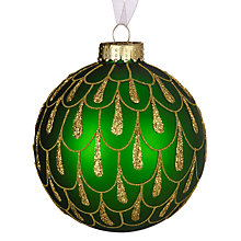 Buy John Lewis Glitter Droplets Bauble, Green/Gold Online at johnlewis.com
