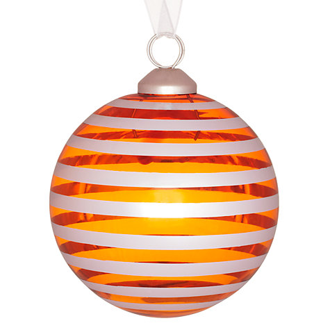Buy House by John Lewis Shiny Stripe Bauble, Orange/Mirror Online at johnlewis.com