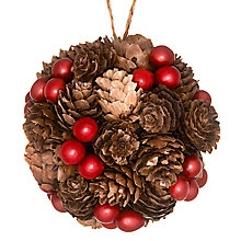 Buy John Lewis Pinecone and Berry Bauble, Brown/Red Online at johnlewis.com