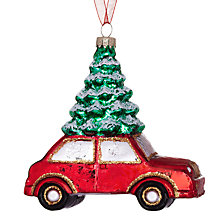 Buy John Lewis Car with a Christmas Tree Glass Decoration Online at johnlewis.com