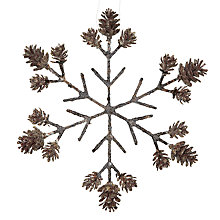 Buy John Lewis Flittered Pine Cone Snowflake Decoration, Natural Online at johnlewis.com