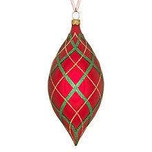 Buy John Lewis Checked Finial Bauble, Red/Green Online at johnlewis.com