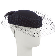 Buy John Lewis Fran Felt Beret with Bow Occasion Hat, Navy Online at johnlewis.com