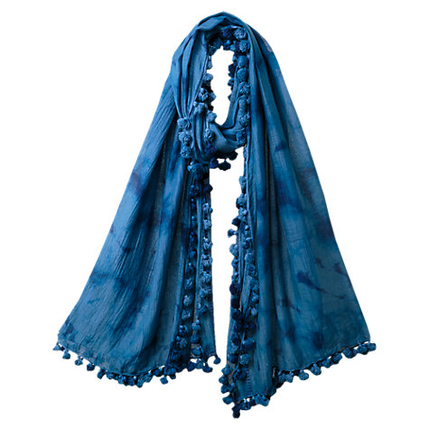 Buy East Soft Tie Dye Scarf, Cornflower Online at johnlewis.com
