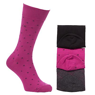 Calvin Klein Geometric Cotton Dress Socks, Pack of 3, One Size, Multi