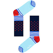 Buy Happy Socks Stripe & Dot Socks, Navy, One Size Online at johnlewis.com