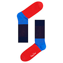 Buy Happy Socks Ribbed Block Colour Socks Navy/Red, One Size Online at johnlewis.com