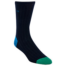 Buy Calvin Klein Giza Ribbed Socks, One Size, Navy Online at johnlewis.com