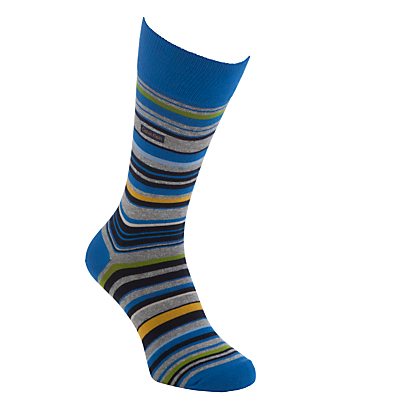 Calvin Klein Barcode Stripe Socks, One Size, Blue