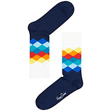 Buy Happy Socks Faded Diamond Socks Online at johnlewis.com