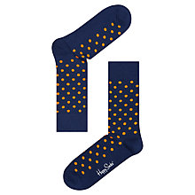 Buy Happy Socks Dot Print Socks, Navy/Orange, One Size Online at johnlewis.com