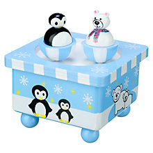 Buy Orange Tree Penguin & Polar Bear Wooden Music Box Online at johnlewis.com