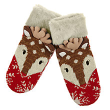 Buy Aroma Home Knitted Deer Mittens, Red Online at johnlewis.com
