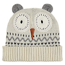Buy Aroma Home Knitted Owl Hat, Blue/Cream Online at johnlewis.com
