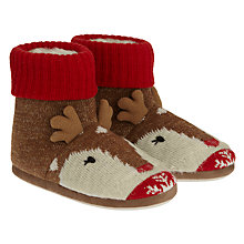 Buy Aroma Home Knitted Deer Slipper Boots, Red, One size Online at johnlewis.com