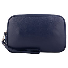 Buy Smith & Canova Leather Wash Bag, Navy Online at johnlewis.com