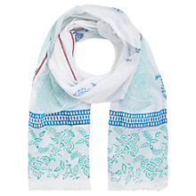 Buy Jigsaw Paisley Block Scarf, White Online at johnlewis.com