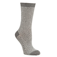 Buy John Lewis Cashmere Mix Triangle Ankle Socks, Grey/Cream Online at johnlewis.com