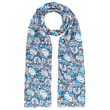 Buy John Lewis Floral Print Rectangular Scarf, Blue Online at johnlewis.com