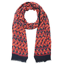 Buy John Lewis Brick Print Scarf, Red Online at johnlewis.com