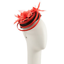 Buy John Lewis Looped Pillbox Hat Fascinator, Black / Red Online at johnlewis.com