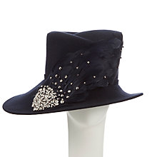 Buy John Lewis Lee Diamanté Felt and Feather Occasion Hat, Navy Online at johnlewis.com