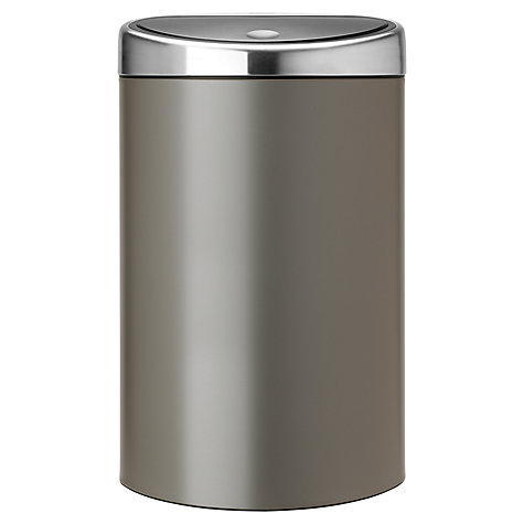 Buy Brabantia Touch Bin, Platinum / Matt Steel Lid, 40L Online at johnlewis.com