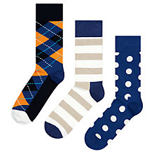 Buy Happy Socks Argyle/Spot/Stripe Socks, Pack of 3, One Size Online at johnlewis.com