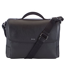 Buy BOSS Motivi Leather Briefcase, Black Online at johnlewis.com