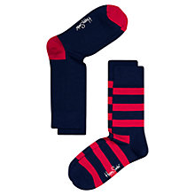 Buy Happy Socks Stripe Socks, Pack of 2, One Size, Navy/Red Online at johnlewis.com