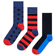 Buy Happy Socks Spot/Stripe Socks, Pack of 3, One Size, Blue/Red Online at johnlewis.com
