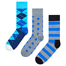 Buy Happy Socks Argyle/Spot/Stripe Socks, Pack of 3 Online at johnlewis.com