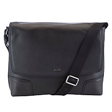Buy BOSS Molina Leather Messenger Bag, Black Online at johnlewis.com