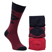 Buy BOSS Stripe Socks, Pack of 3, One Size, Red/Navy Online at johnlewis.com