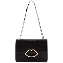 Buy Lulu Guinness Small Shiny Leather Lips Shoulder Handbag, Black Online at johnlewis.com